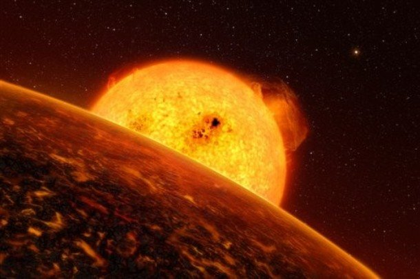 This image provided by the European Southern Observatory Wednesday Sept. 16, 2009 shows an artist rendition of the first rocky extrasolar planet called Corot-7b. European astronomers confirmed the first rocky extrasolar planet Wednesday. According to scientists the planet is so close to it's sun that its surface temperature is more than 3,600 degrees Fahrenheit, too toasty to sustain life. It circles its star in just 20 hours, zipping around at 466,000 mph. By comparison, Mercury, the planet nearest our sun, completes its solar orbit in 88 days. (AP Photo/ESO) -- MANDATORY CREDIT --
